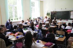 Первоклассники на линейке в Южном округе Москвы в прошлом году