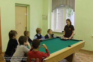 Первое занятие в школе бильярда