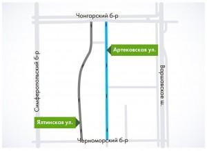 Схема изменения движения на Артековской улице